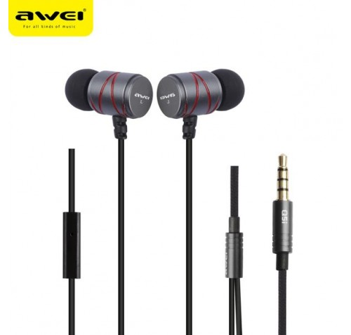 AWEI STEELSERIES Q5I METAL STEREO EARPHONE SUPER BASS ΓΚΡΙ