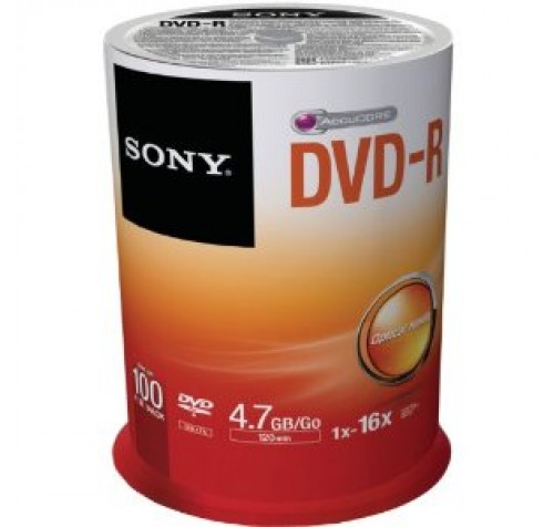 SONY DVD-R 4,7GB 120MIN 16X CAKEBOX 100PCS
