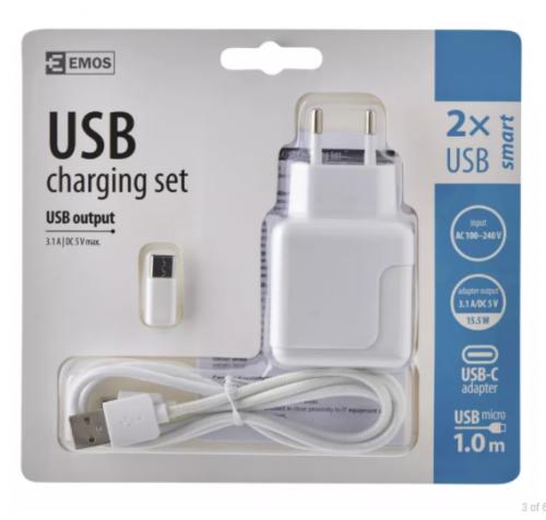 USB φορτιστής 2 θέσεων  3.1A+micro USB cable+USB-C αντάπτορα