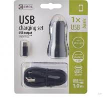 USB φορτιστής αναπτήρα αυτοκινήτου 2,1A + micro USB καλώδιο+ USB-C αντάπτορα
