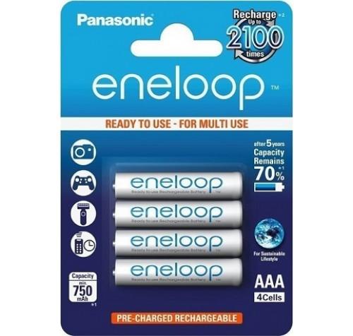 Επαναφορτιζόμενες προ-φορτισμένες μπαταρίες Panasonic Eneloop 750mAh ΑΑΑ (4 τεμάχια)