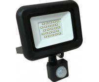 Προβολέας αλουμινίου μαύρος LED SMD με περιστρεφόμενο ανιχνευτή κίνησης 20W 220-240V Plus στεγανός IP44 6500K με ψυχρό φώς