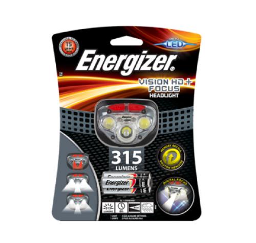 NEW!! Φακός Κεφαλής Energizer Vision HD+ Focus 3 Led 315 Lumens με Μπαταρίες AAA 3 Τεμ.