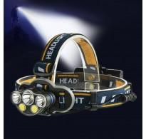 Φακός κεφαλής επαναφορτιζόμενος 5 LED T6 COB 8 Modes + κόκκινο φως 1300lum