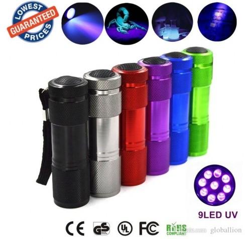 Φακός 9 Led UV. Σετ σε display 24 τεμαχίων!!!