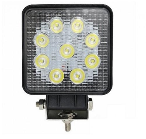 Τετράγωνος προβολέας αδιάβροχος LED 27W δουλεύει από 12V έως καί 32V για βάρκες τρακτέρ φορτηγά αυτοκίνητα