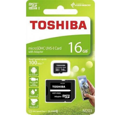 Micro SD Toshiba M203 16GB Class10 U1 με αντάπτορα SD