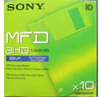 "Sony MFD 2HD 1.44MB 3.5"" Double Sided Floppy Discs 10MFD2HDGF 10TEM"